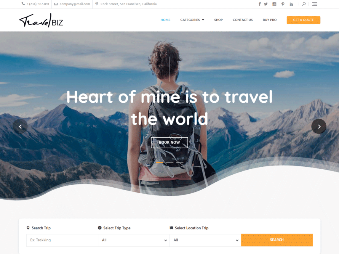 Travelbiz Free WordPress Travel Themes