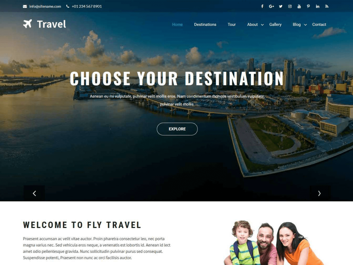 WordPress theme for travel and flight