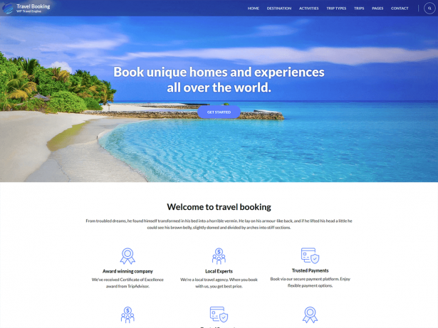 Clean theme for travel managment
