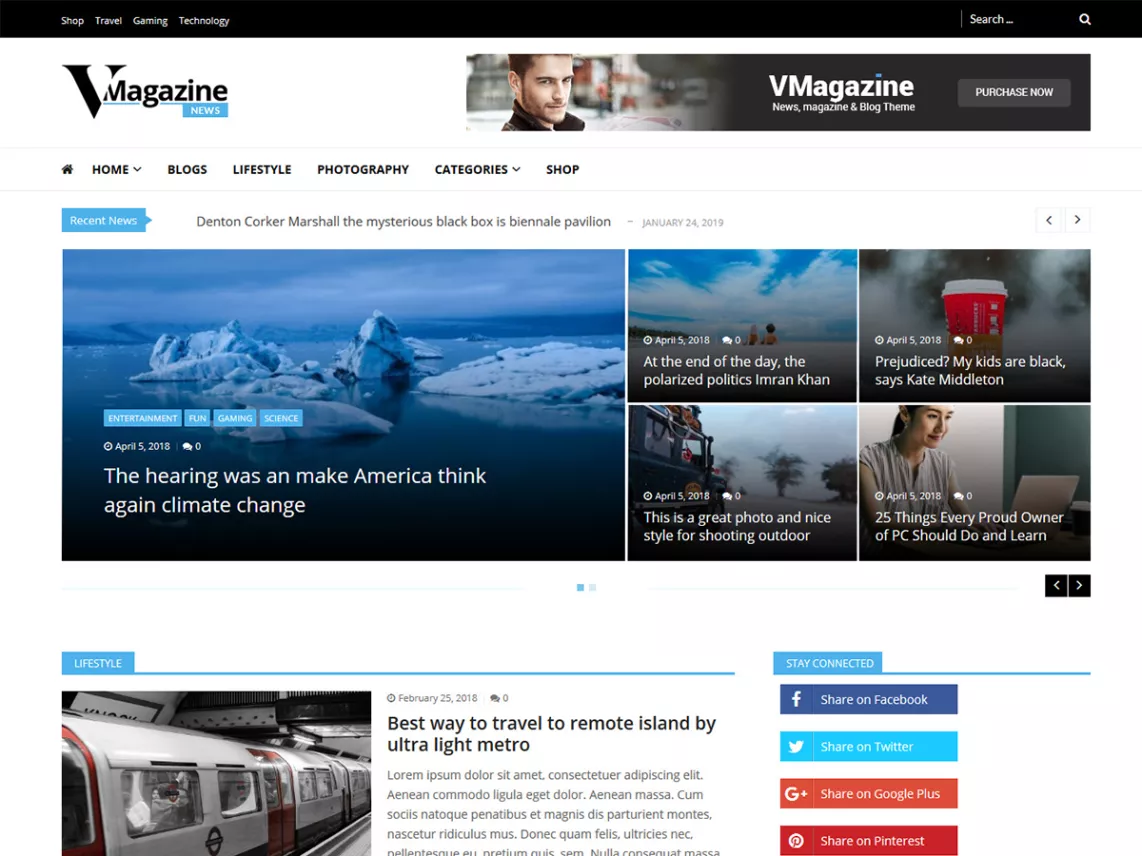 vmagazine theme on wordpress