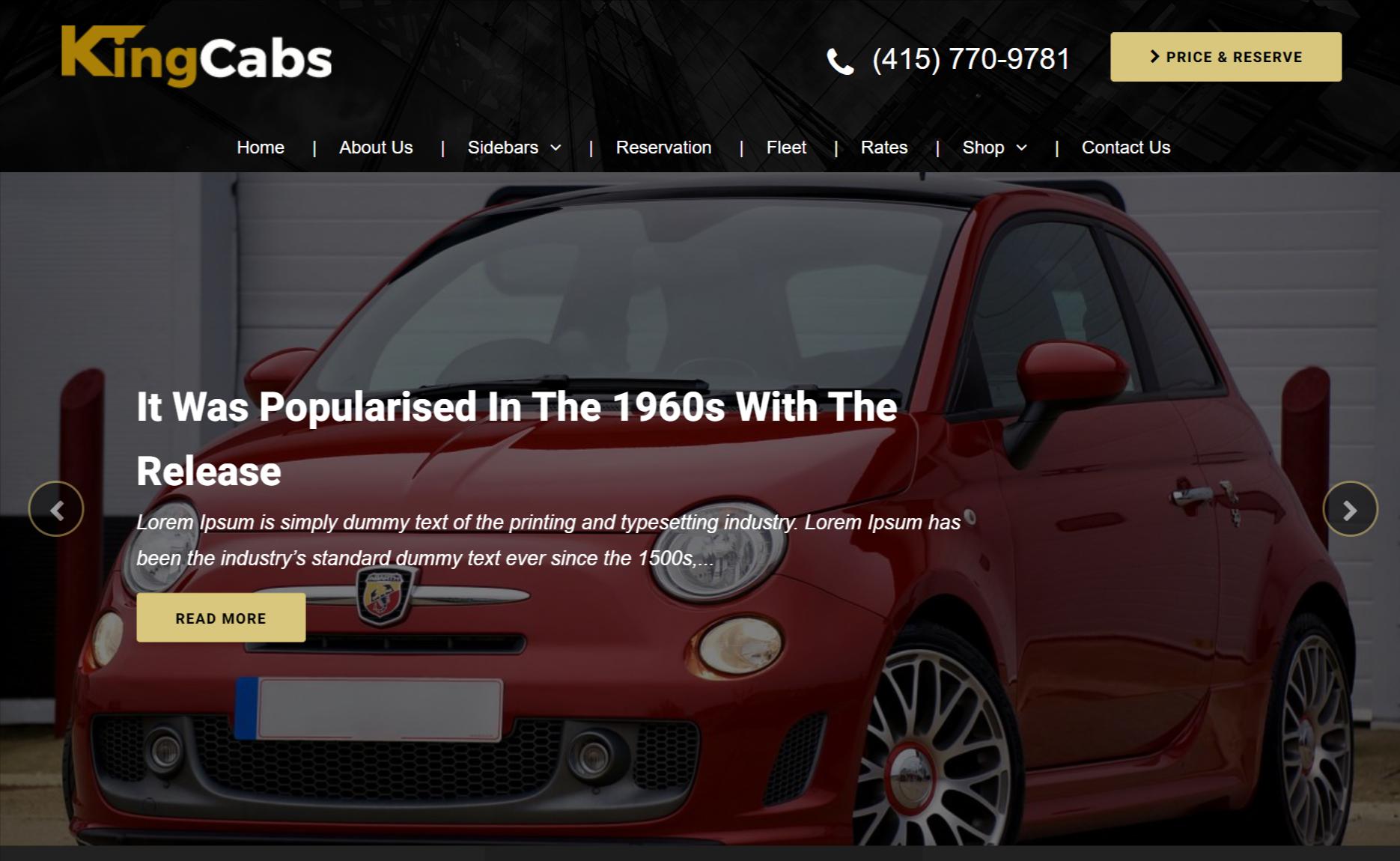 kingcabs car rental theme