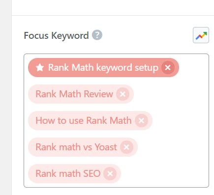 Rank math keyword assigning