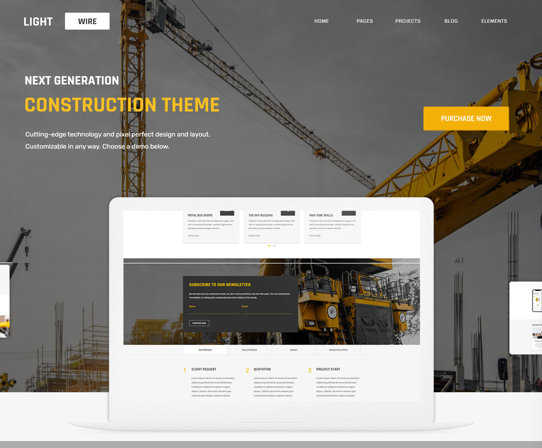 light wire pro theme for construction companies
