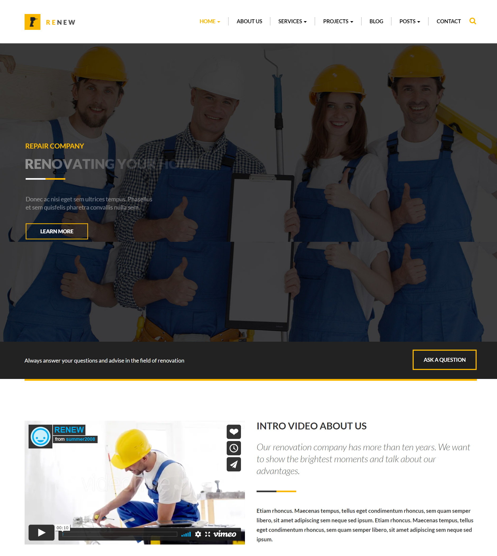 Renew theme for renovation business
