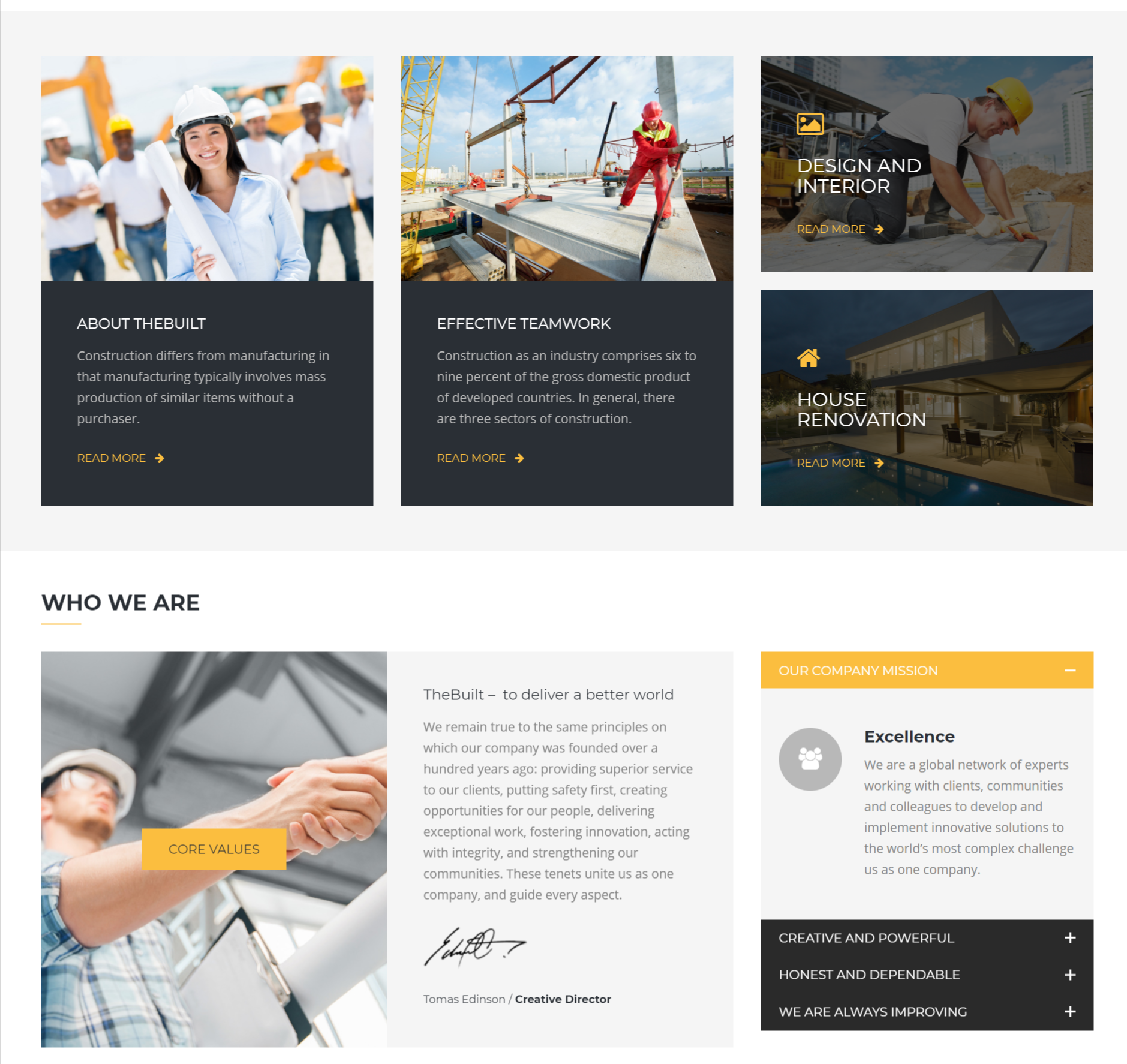 The built theme for construction builders